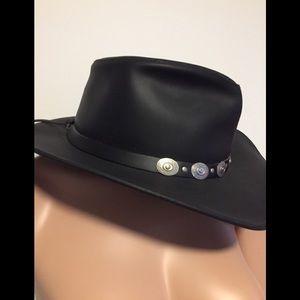 Black leather western 🤠 hat